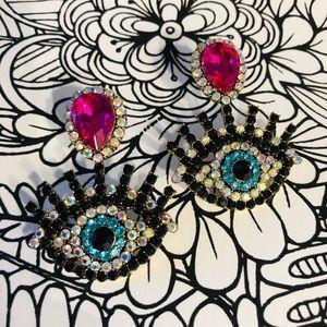 ✨Evil Eye Ab Jet and Fuchsia rhinestone earrings